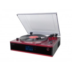 Tocadiscos profesional con  cd/mp3, radio pll, usb/sd rojo
