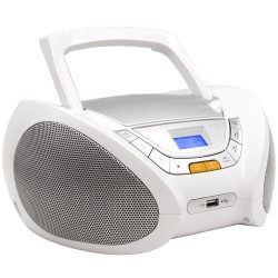 Boombox Portable CD Player Mp3 with USB, Radio & Headphone Jack, White