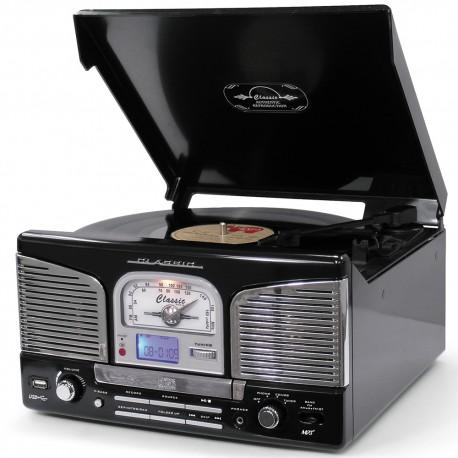 Tocadiscos retro con cd/mp3/usb/radio/grabación