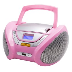 Boombox Portable CD Player Mp3 with USB, Radio & Headphone Jack, Pink