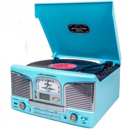 Tocadiscos Retro CD/MP3 con Enconding y Bluetooth Azul